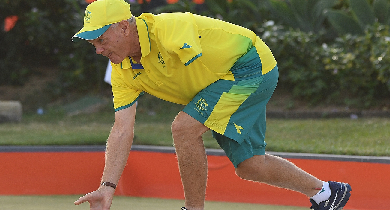 Ken Hanson of Australia competes during the Para-Sport Triples B6B7B8 Lawn Bowls semi final between Australia and South Africa on day seven of the Gold Coast 2018 Commonwealth Games