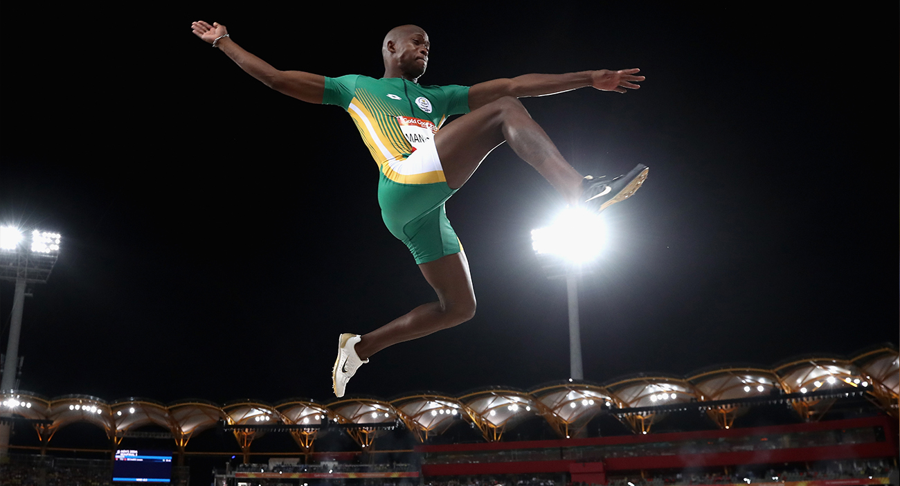 Luvo Manyonga of South Africa competes in the Men's long jump final during athletics on day seven of the Gold Coast 2018 Commonwealth Games at Carrara Stadium