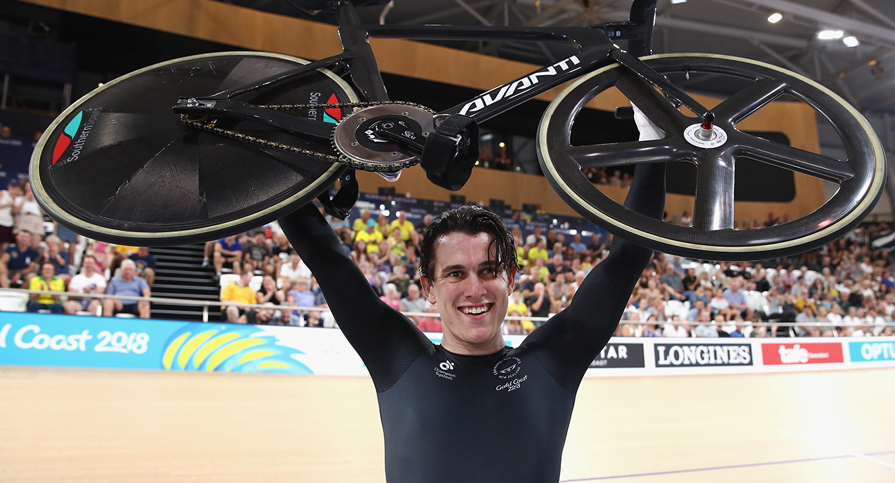Sam Webster of New Zealand celebrates winning gold in the Men's Sprint Gold Final on day three of the Gold Coast 2018 Commonwealth Games at Anna Meares Velodrome