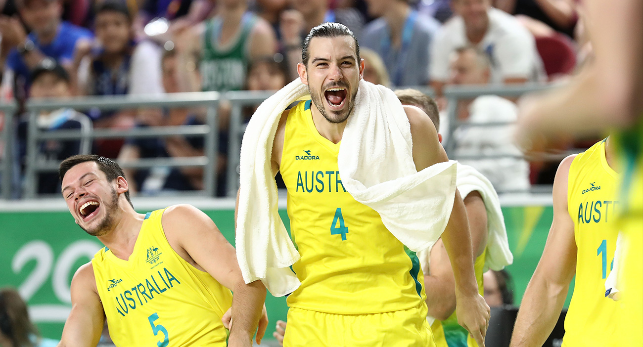 Australia's Jason Cadee and Chris Goulding celebrate