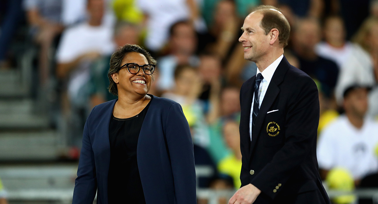 Prince Edward, Earl of Wessex and Cathy Freeman look on during the medal ceremony for the Women's 400 metre