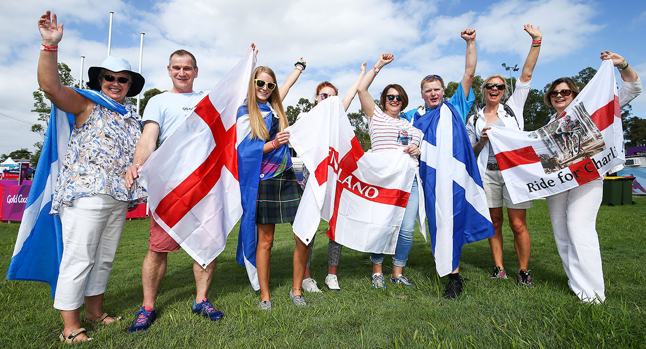 England and Scotland fans at Mountain Bike