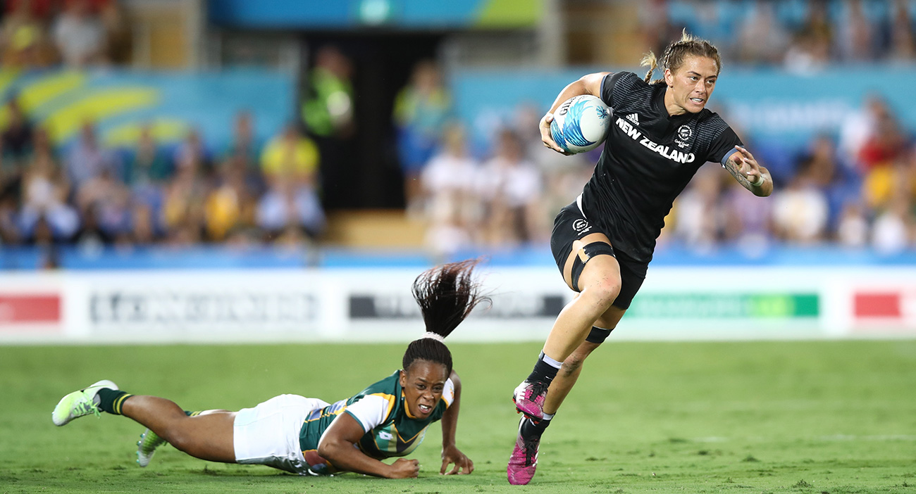 Niall Williams of New Zealand makes a break in the womens match between New Zealand and South Africa