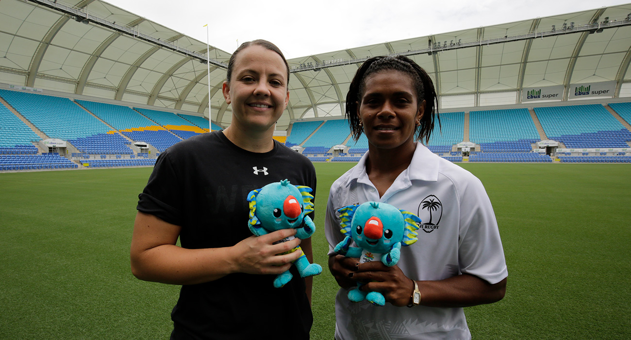 Welsh captain Sian Williams and Ana Marie Roqica at the Rugby Sevens draw announcement at Robina Stadium.