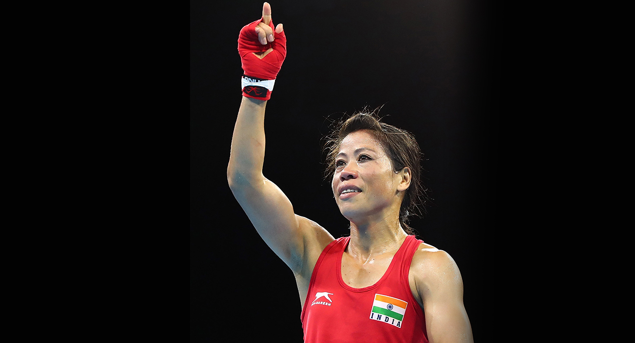Mary Kom celebrates her gold medal.