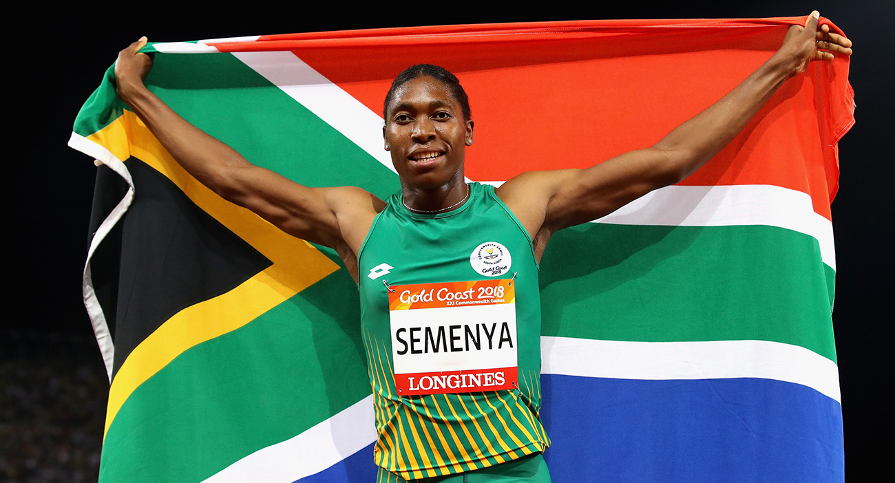 South Africa's Caster Semenya celebrates a historic double.