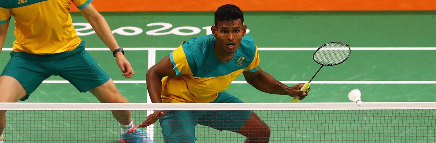 Sawan Serasinghe and Matthew Chau of Australia compete against Nan Zhang and Lee Yong-dae and Yoo Yeon Seong of South Korea in the Mens Doubles on Day 6 of the 2016 Rio Olympics