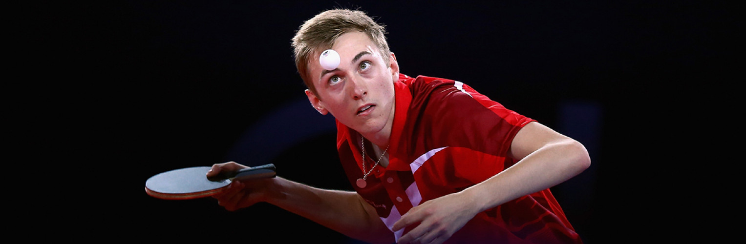 Liam Pitchford of England competes in the Men's Table Tennis singles Quarter Finals match against Soumyajit Ghosh of India at Scotstoun Sports Campus during day nine of the Glasgow 2014 Commonwealth Games.