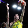 Jesse Wagstaff of Australia drives at the basket during the Men's semi-final match between Australia and Scotland.