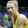 Donna Urquhart returns a serve in the GC2018 Squash singles comptition