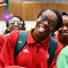 Mozambique's women's basketball team arrive at Townsville Airport