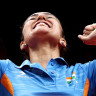 India celebrate their gold medal win in table tennis.